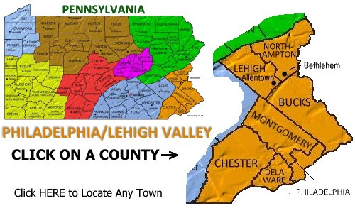 Philadelphia and Philly Countryside vacations and travel ... on county map of pennsylvania, county map of florida, county map of eastern pa, county map of united kingdom, county map of milwaukee, county map of long island, county map of lancaster, county map of delaware county, county map of rhode island, county map of baltimore, county map of burlington, county map of dallas, county map of northern california, county map of st. louis, mo,